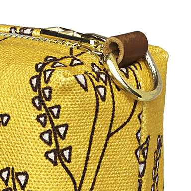 Maricopa Graphic Floral Pattern Canvas Wash Bag in Mustard Gold and Chocolate Brown