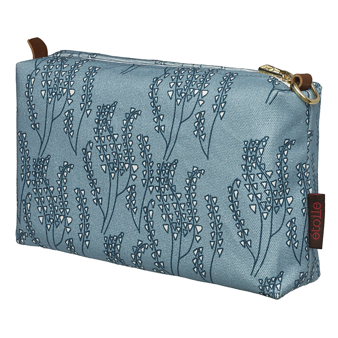 Maricopa Graphic Floral Pattern Canvas Wash Bag in Light Chambray Blue