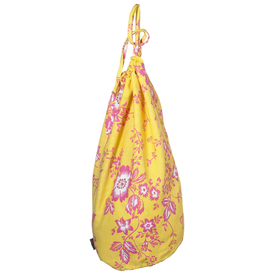 Miles Vintage Style Floral Pattern Linen Cotton Drawstring Laundry & Storage Bags in Lemon Yellow & Pink Ships from Canada (USA)
