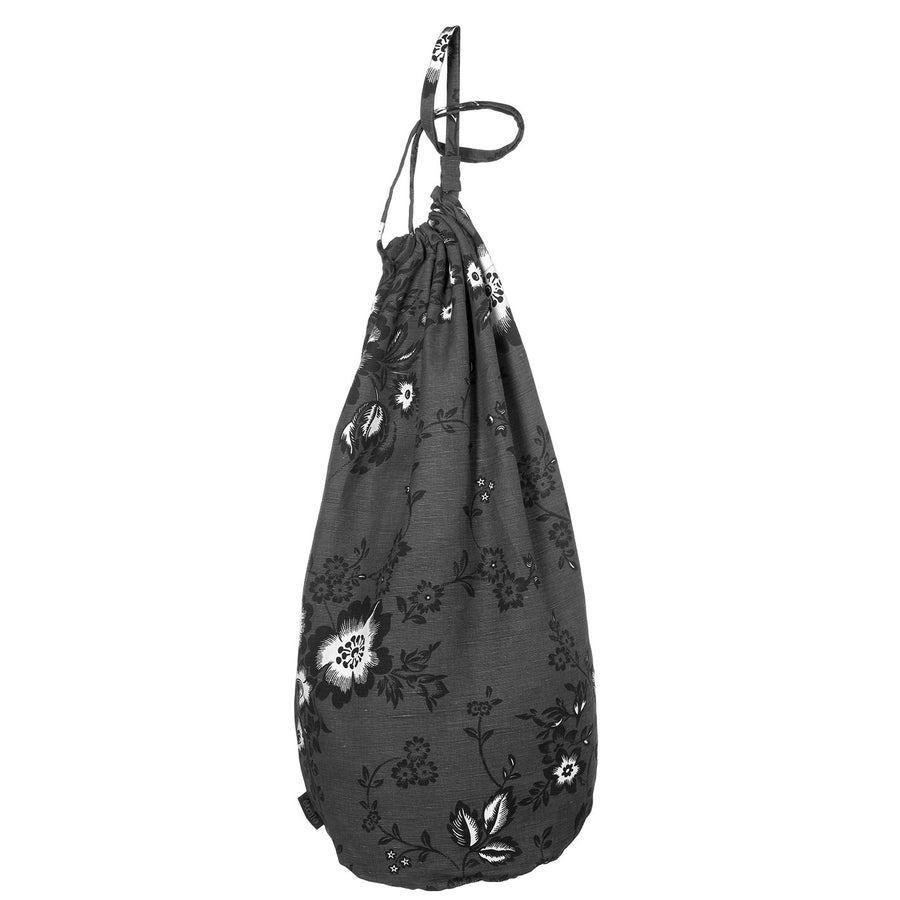Miles Floral Linen Laundry & Storage Bag in Charcoal Grey