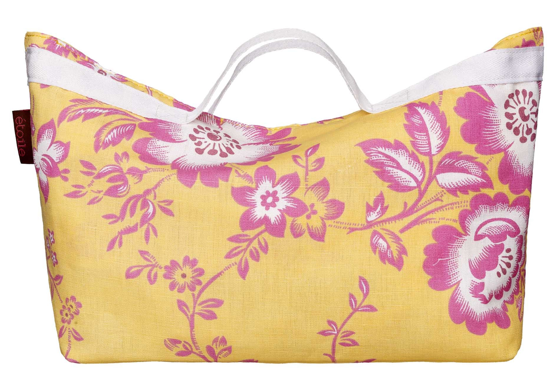 Miles Floral Pattern Convertible Cotton Linen Shopping Bag in Lemon Yellow