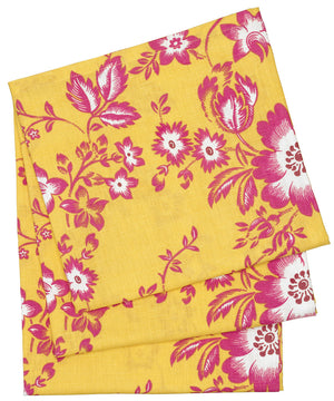 Miles Retro Floral Line Cotton Tablecloth in Lemon Yellow