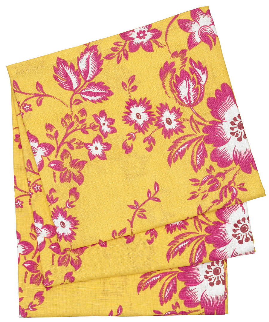 Miles Retro Floral Line Cotton Tablecloth in Lemon Yellow Canada USA