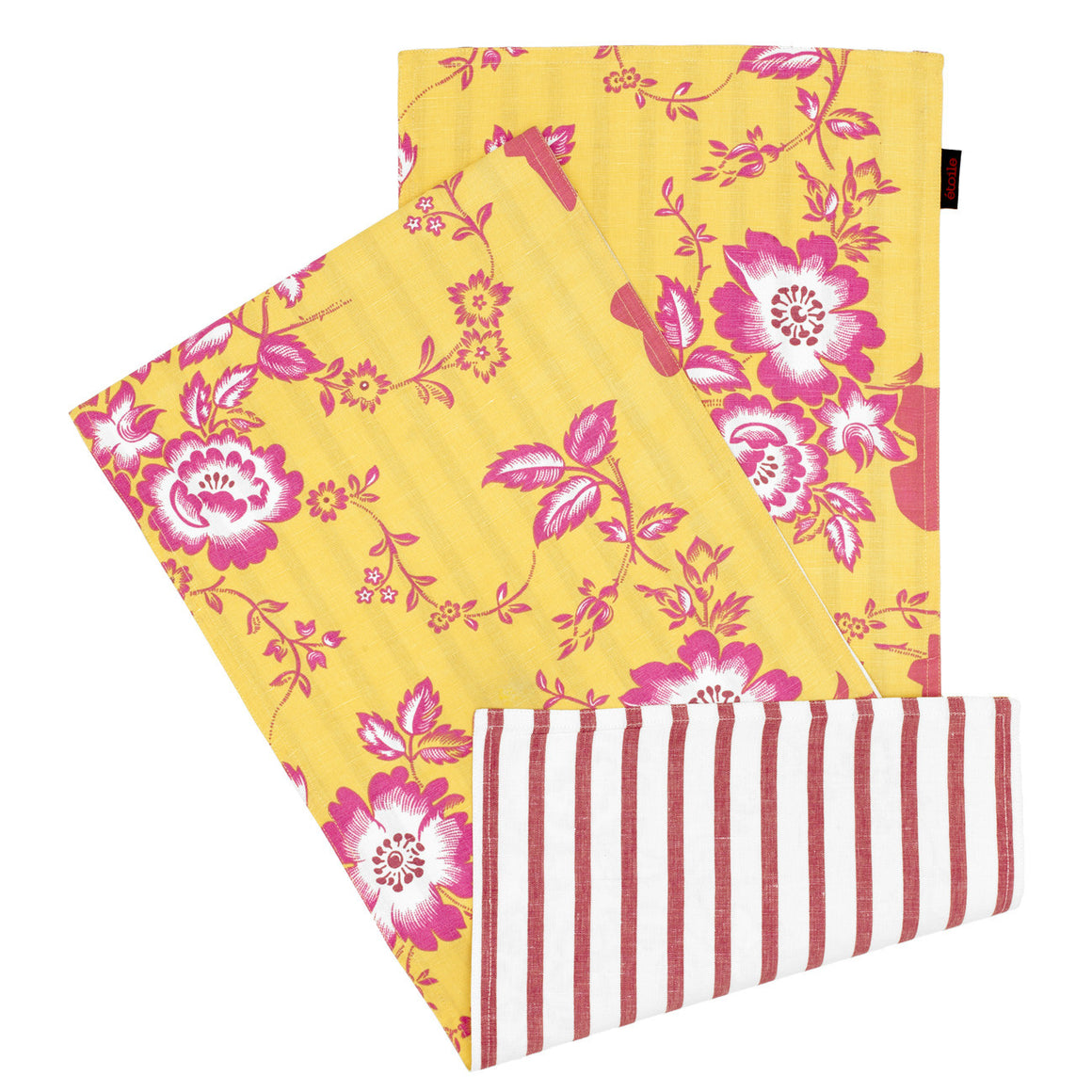 Miles Vintage Style Floral Reversible Table Runner in Lemon Yellow