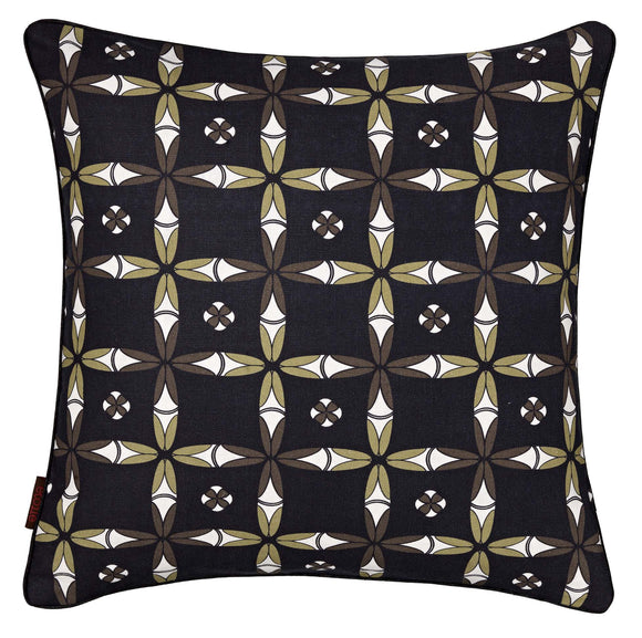 Navajo Ethnic Geometric Pattern Linen Cotton Cushion in Black