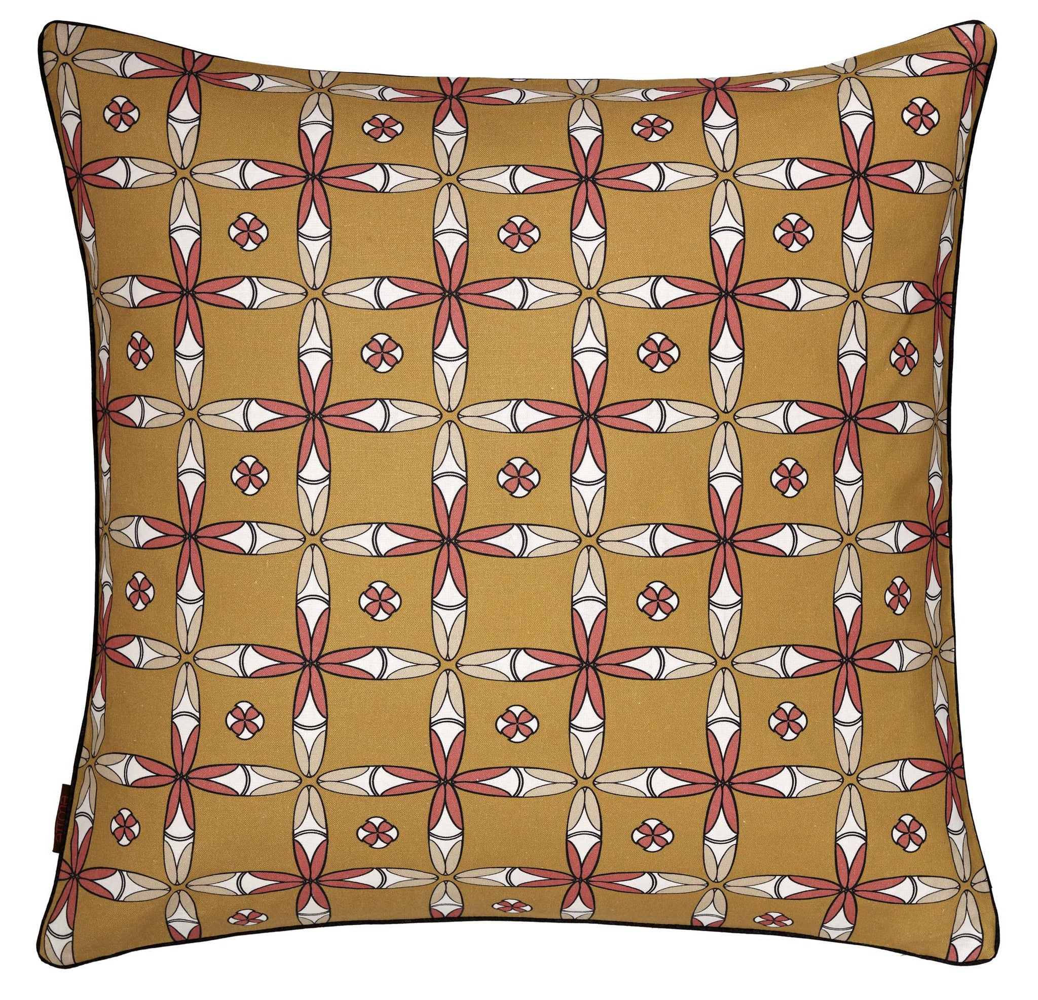 Navajo Geometric Pattern Linen Cushion in Mustard Gold 45x45cm