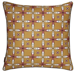 "Navajo Geometric Pattern Linen Decorative Throw Pillow in Mustard Gold 45x45cm (18x18"")"