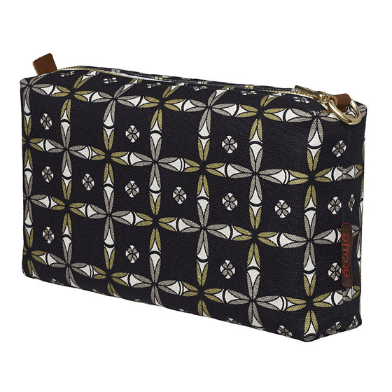 Navajo Ethnic Geometric Pattern Canvas Wash Bag in Black