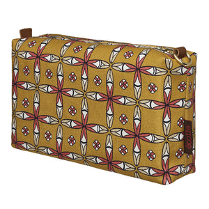 Navajo Ethnic Geometric Pattern Canvas Wash (toiletry) Bag in Gold