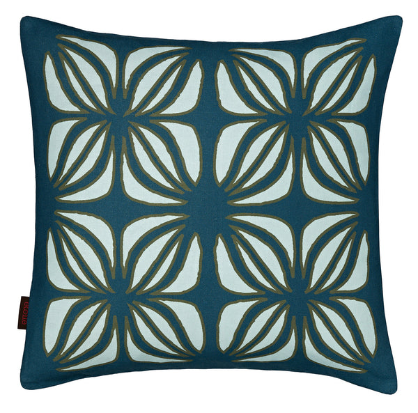 Nina Graphic Pattern Linen Cushion in Dark Petrol Blue and Light Celeste Blue 45x45cm