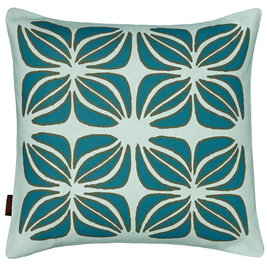 Nina Graphic Pattern Linen Cushion in Light Celeste Blue