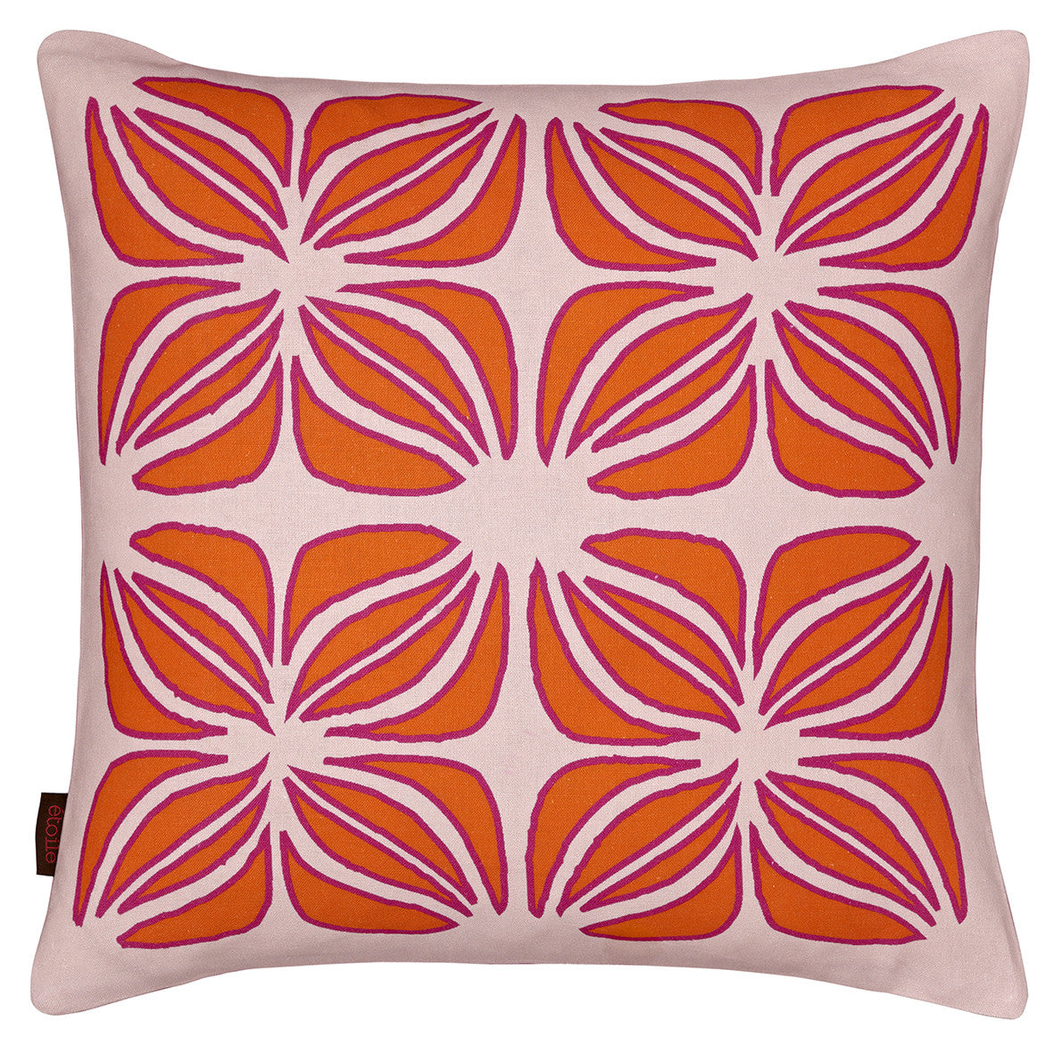 Nina Graphic Pattern Linen Cotton Cushion in Light Tea Rose Pink with Orange