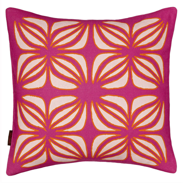 Nina Graphic Pattern Linen Cotton Cushion in Hot Fuchsia Pink