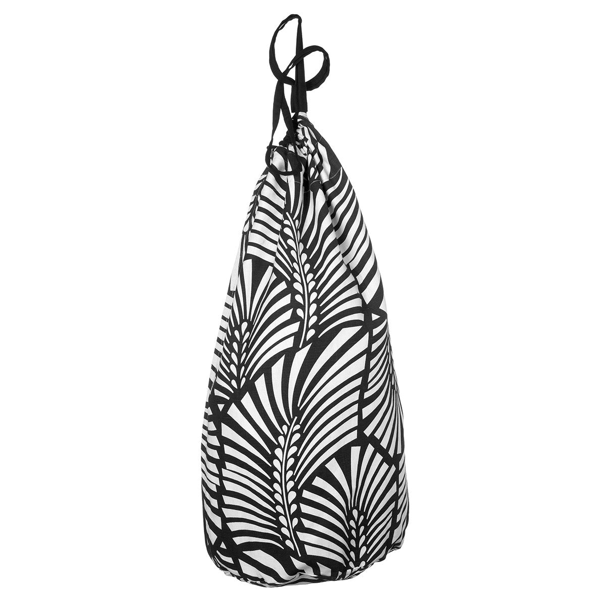 Oscar Graphic Palm Leaf Pattern Printed Cotton Linen Laundry & Storage Bags Black - Ships from Canada (USA)