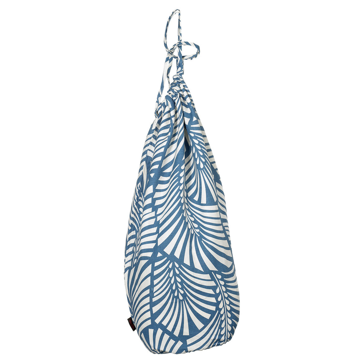 Oscar Palm Leaf Pattern Printed Linen Cotton Drawstring Laundry & Storage Bags in Petrol (Navy) Blue Ships from Canada (USA)