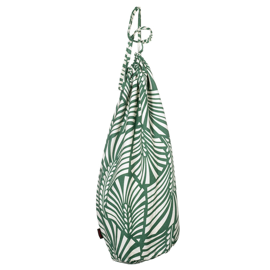 Oscar Palm Leaf Pattern Printed Linen Cotton Drawstring Laundry & Storage Bags in Dark Moss Green Ships from Canada (USA)