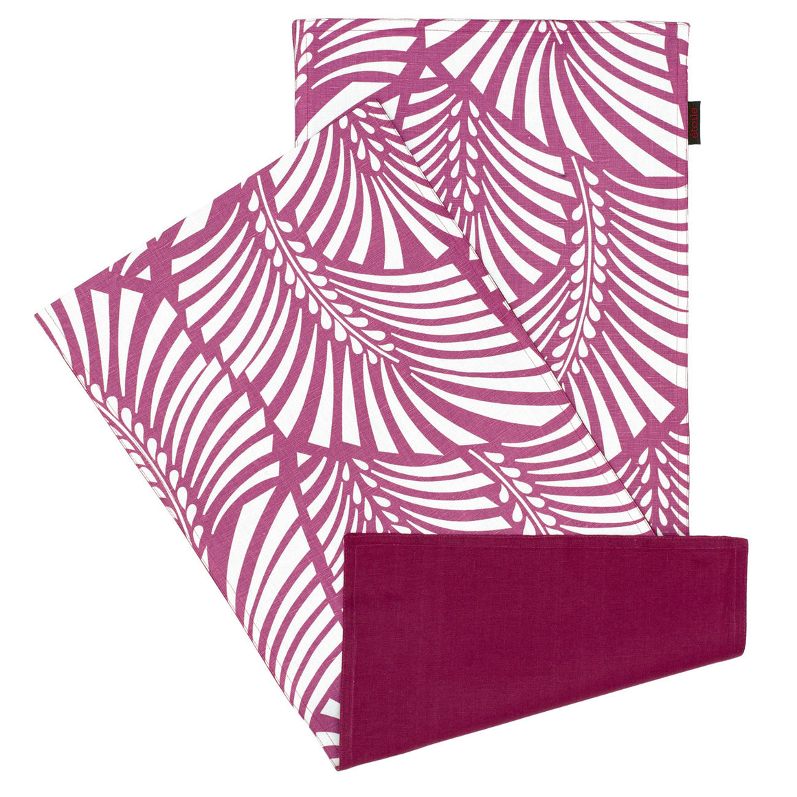 Oscar Graphic Leaf Pattern Reversible Table Runner in Dark Heather Pink