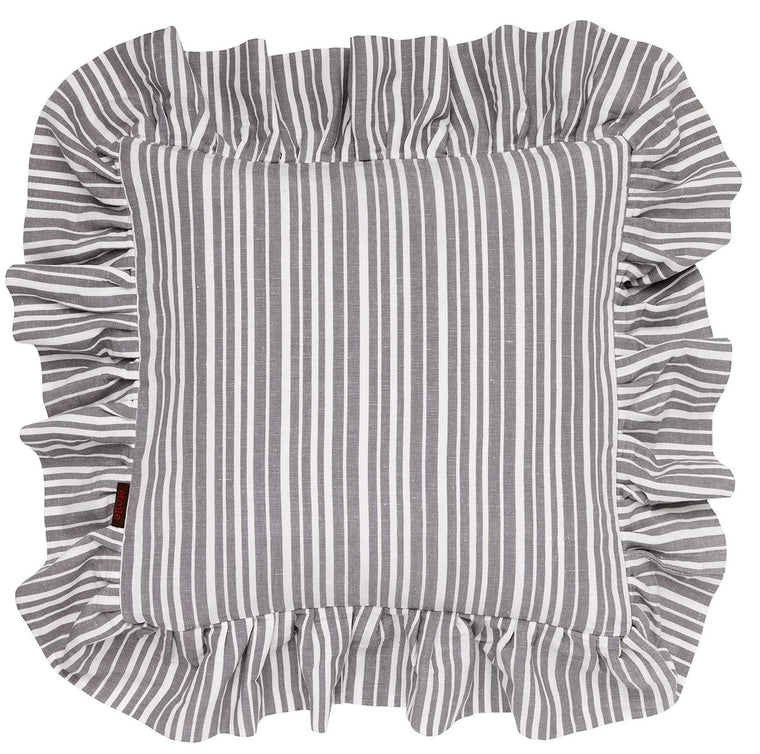 Palermo Ticking Stripe Ruffle Cushion in Stone Grey 45x45cm