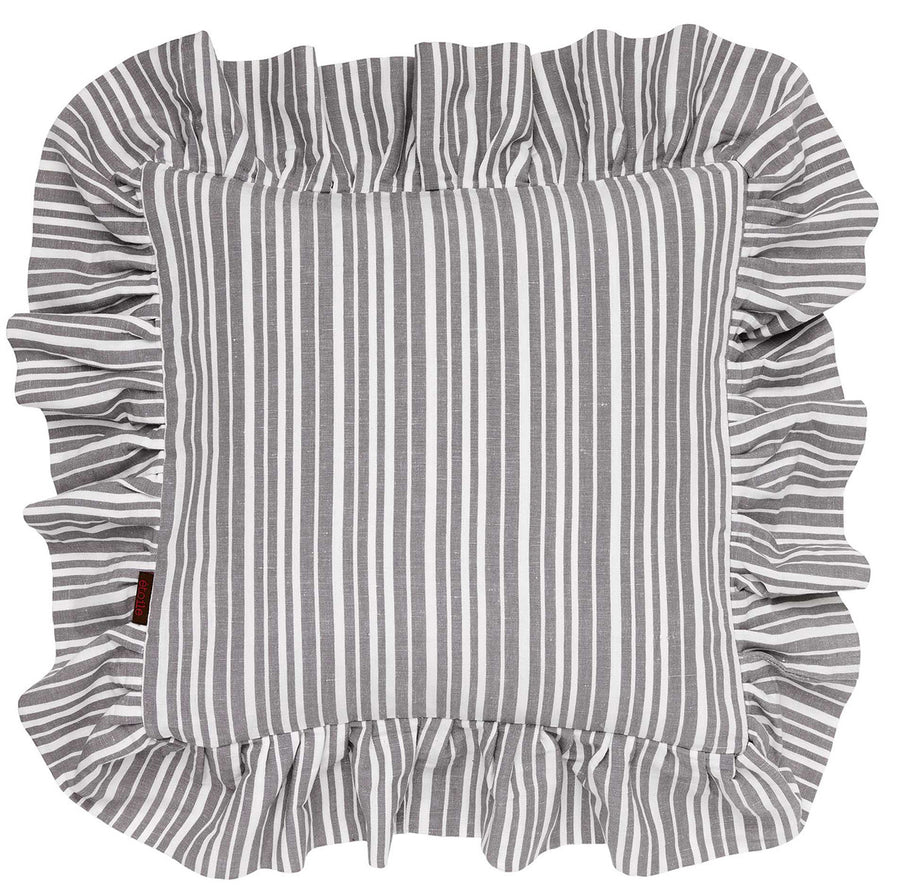 Palermo Ticking Stripe Ruffle Decorative Throw Pillow in Stone Grey 45x45cm 18x18""