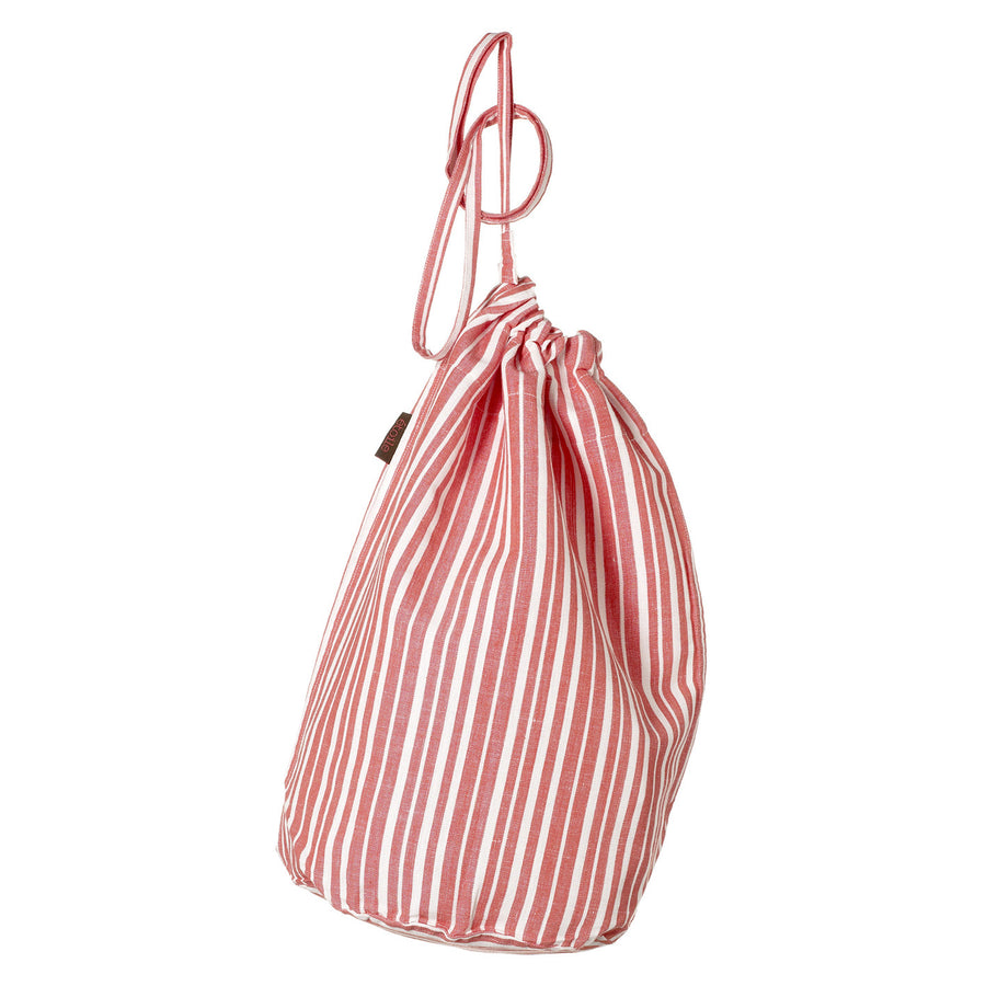 Palermo Ticking Stripe Cotton Linen Drawstring Laundry & Storage Bag in Geranium Red Ships from Canada (USA)