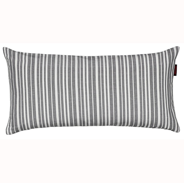 Palermo Yarn Dyed Ticking Stripe Cotton Linen Cushion in Stone Grey 30x60cm