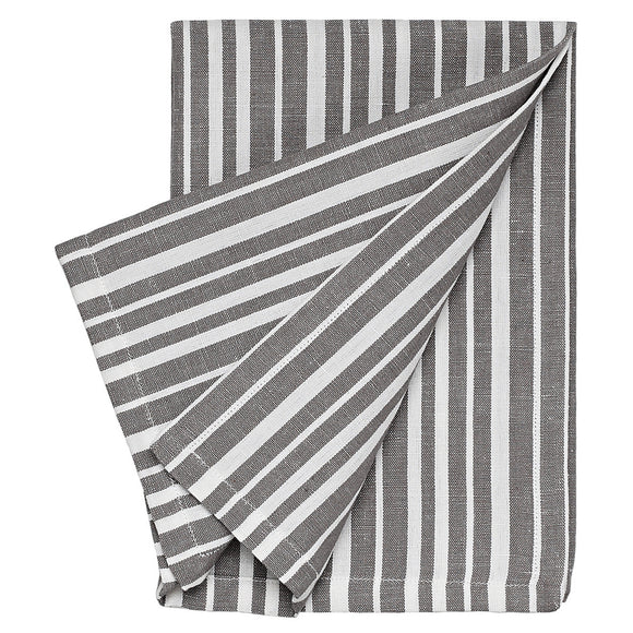 Palermo Ticking Stripe Cotton Linen Napkin in Stone Grey