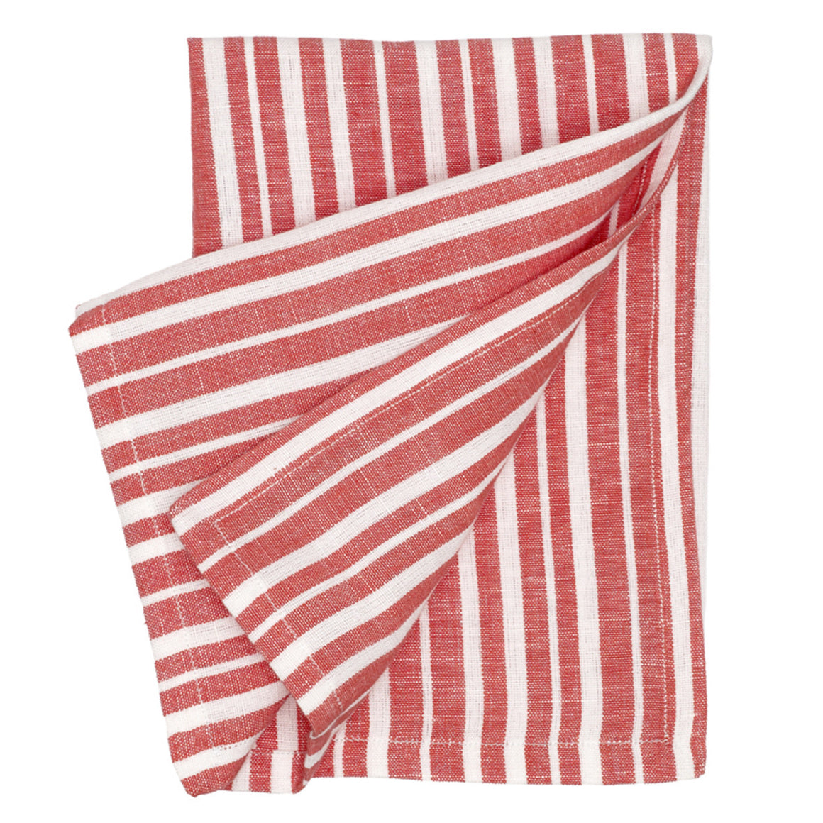 Palermo Ticking Stripe Cotton Linen Napkin in Geranium Red