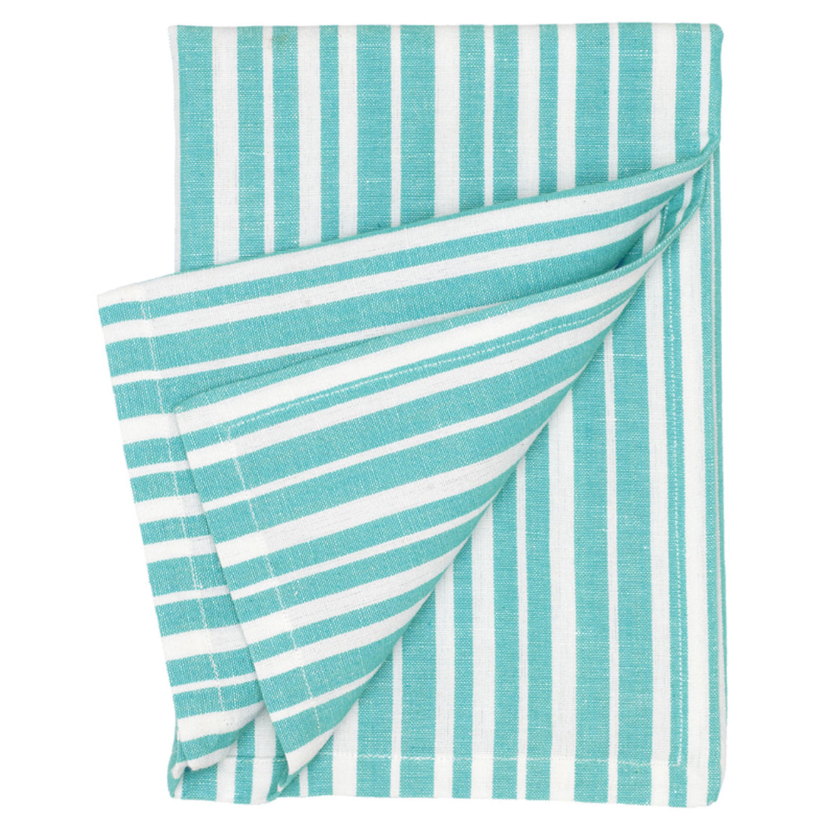 Palermo Ticking Stripe Cotton Linen Napkin in Turquoise Blue