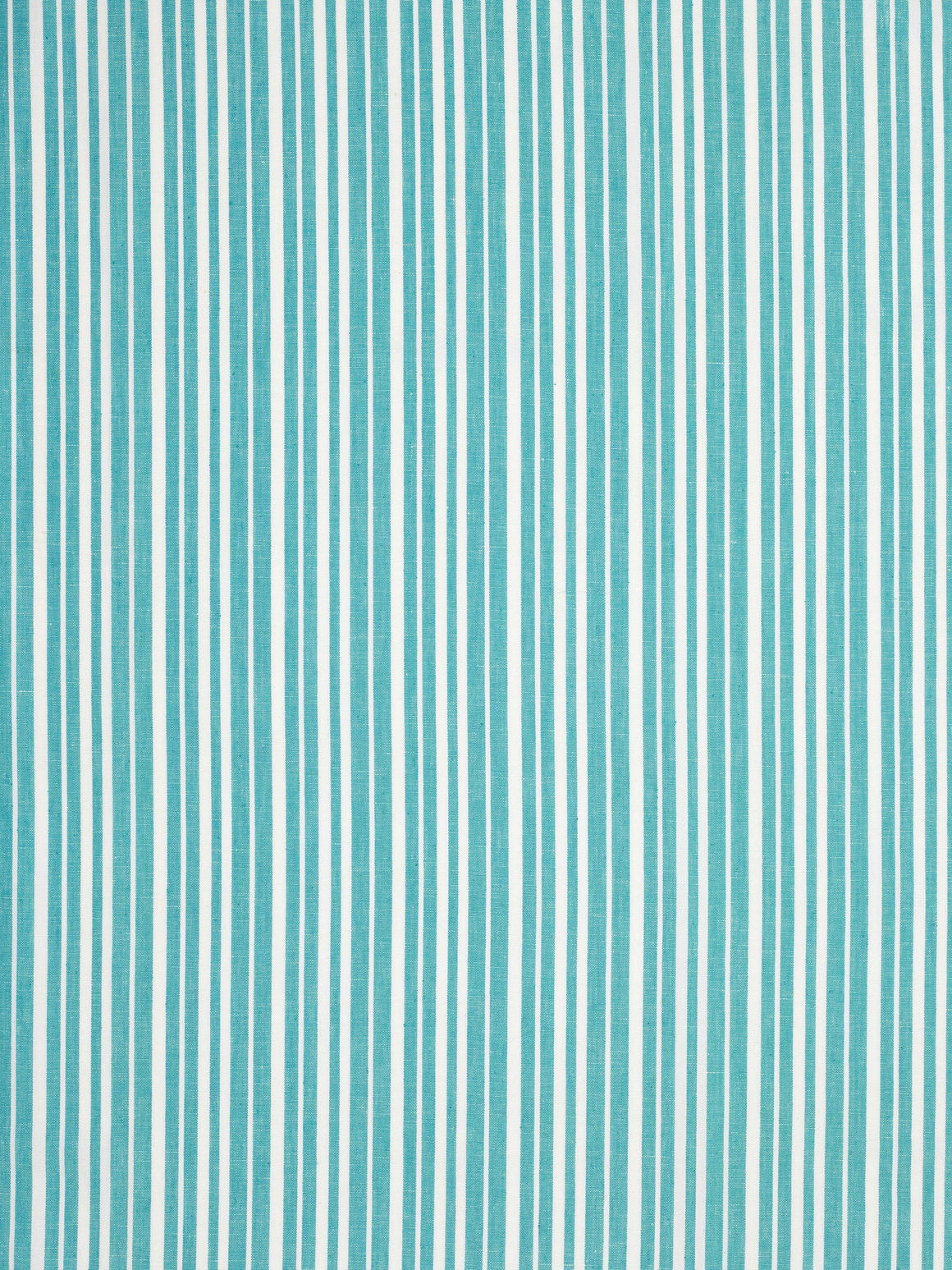 Palermo Ticking Stripe Cotton Linen Fabric by the Meter in Pacific Turquoise Blue