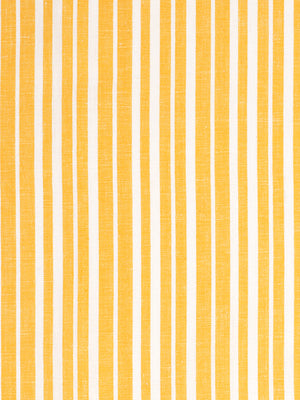 Palermo Ticking Stripe Cotton Linen Fabric by the Meter in Bright Saffron Yellow