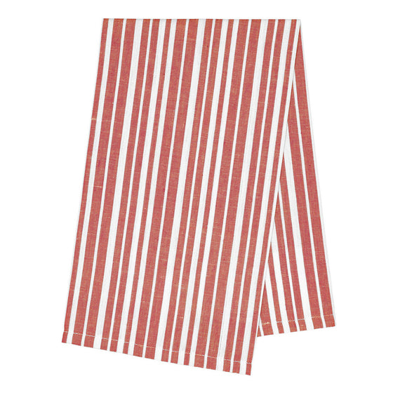 Palermo Stripe Tea Towel - Geranium Red