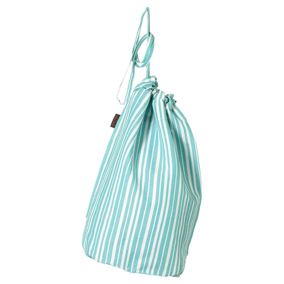 Palermo Ticking Stripe Cotton Linen Laundry Bag Pacific Turquoise Blue