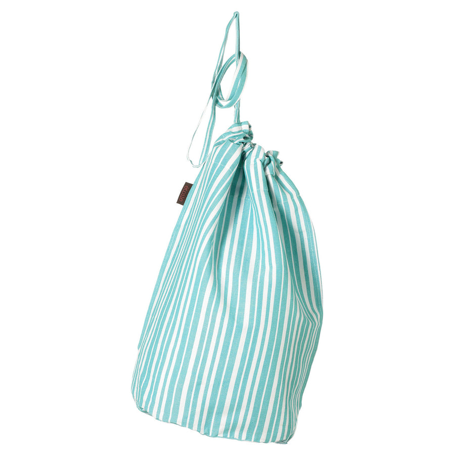 Palermo Ticking Stripe Cotton Linen Drawstring Laundry & Storage Bag in Pacific Turquoise Blue Ships from Canada (USA)