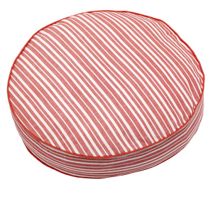 Palermo Ticking Stripe Round Floor Cotton Linen Cushion - Geranium Red 48cm diameter