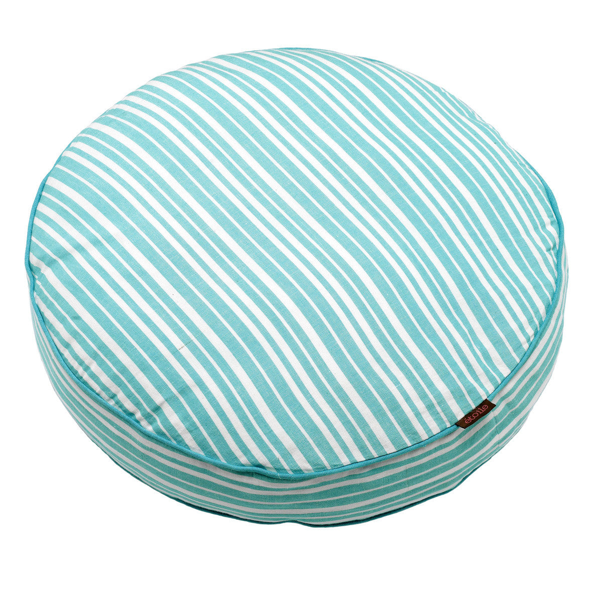 Palermo Ticking Stripe Round Cotton Linen Floor Cushion in Pacific Turquoise Blue 48cm diameter