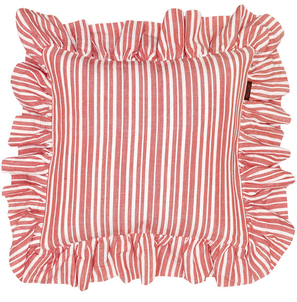 Palermo Ticking Stripe Ruffle Cushion in Geranium Red 45x45cm