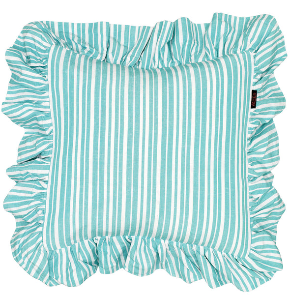 Palermo Ticking Stripe Ruffle Cushion in Pacific Turquoise Blue 45x45cm