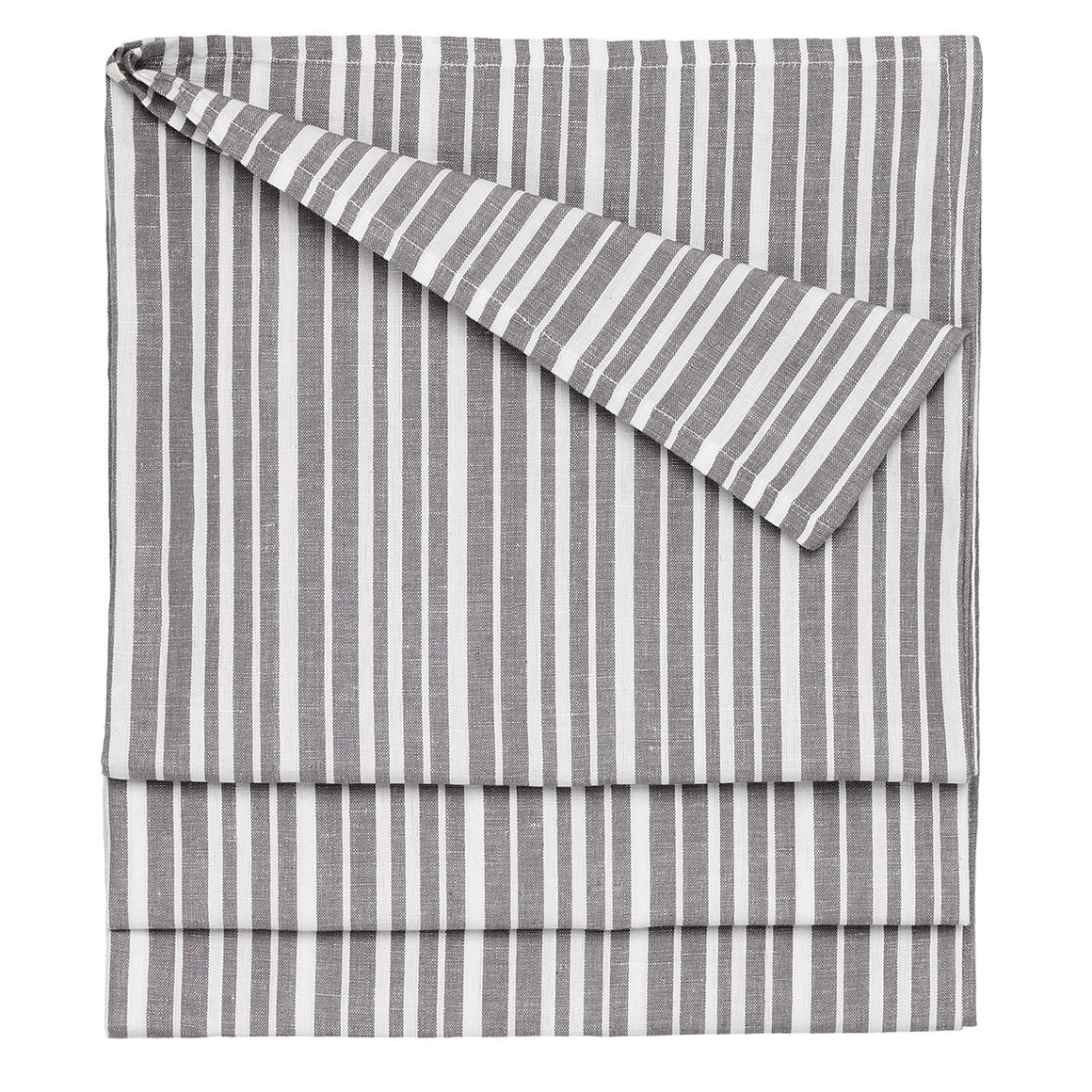 Palermo Ticking Stripe Cotton Linen Tablecloth in Stone Grey Ships from Canada (USA)