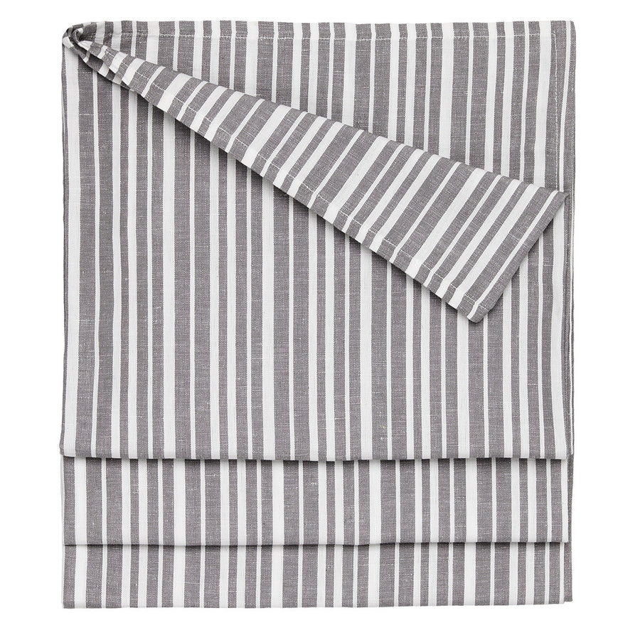 Palermo Ticking Stripe Cotton Linen Tablecloth in Stone Grey