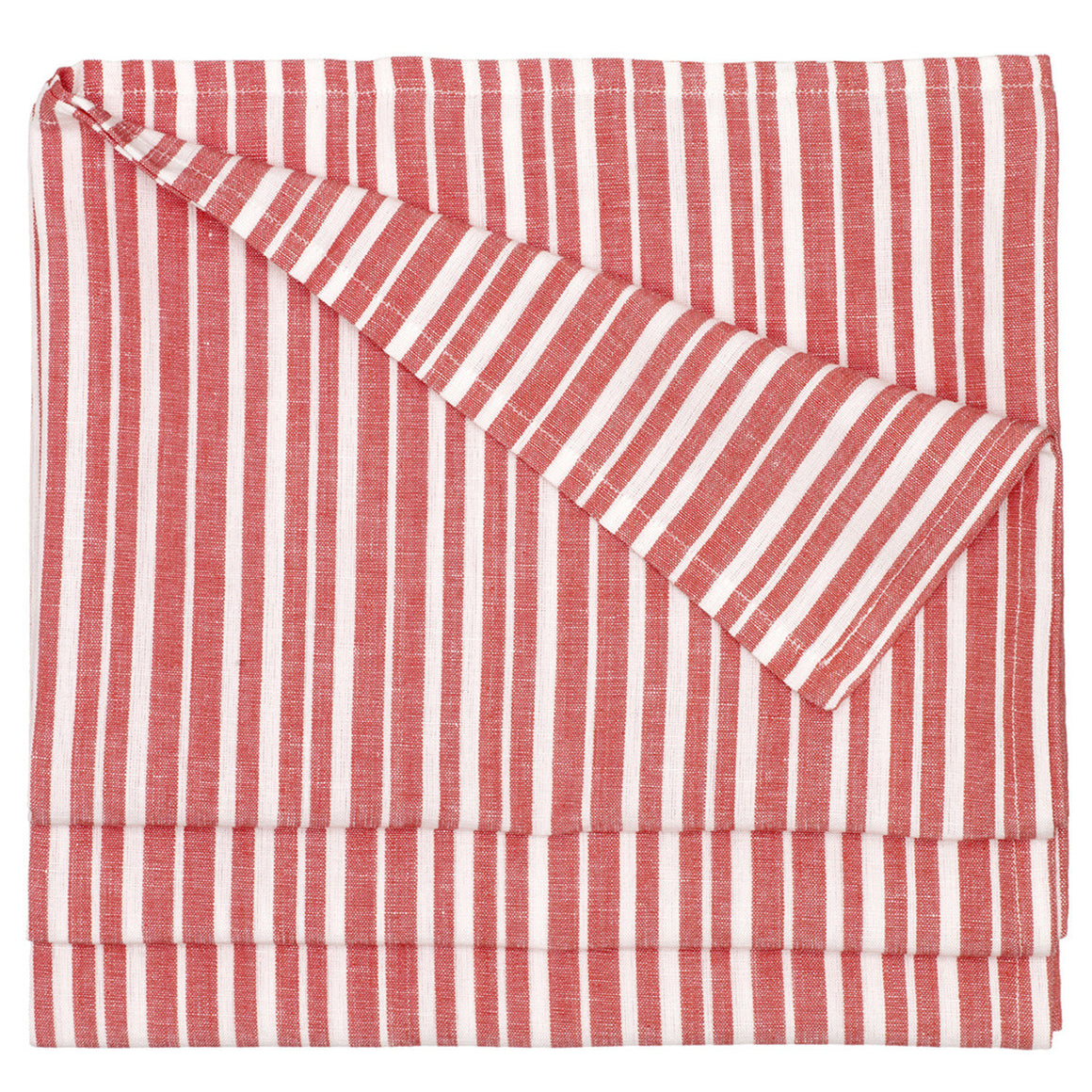 Palermo Ticking Stripe Cotton Linen Tablecloth in Geranium Red