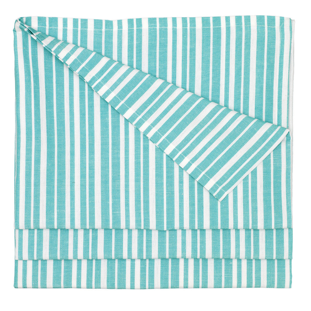 Palermo Ticking Stripe Cotton Linen Tablecloth in Pacific Turquoise Blue Ships from Canada (USA)
