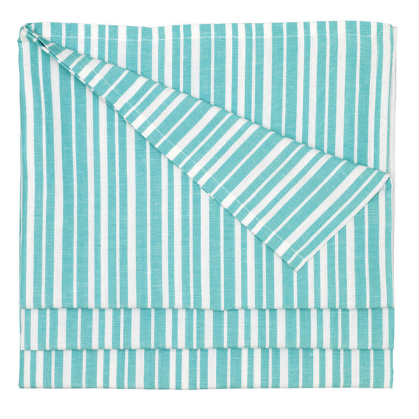 Palermo Ticking Stripe Cotton Linen Tablecloth in Pacific Turquoise Blue