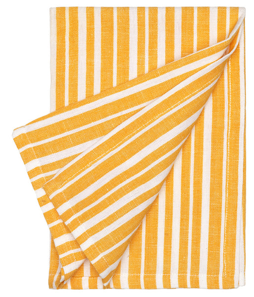 Palermo Ticking Stripe Linen Cotton Napkin - Saffron Yellow