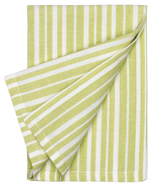 Palermo Ticking Stripe Cotton Linen Napkin - Light Sage Green