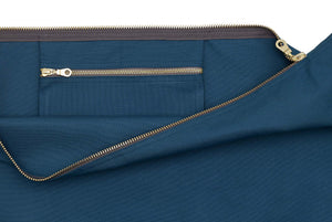 Paula Resin Coated Cotton Canvas Overnight Cabin Bag Pocket in Petrol Blue