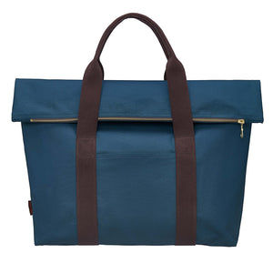 Paula Resin Coated Cotton Canvas Overnight Cabin Bag in Petrol Blue