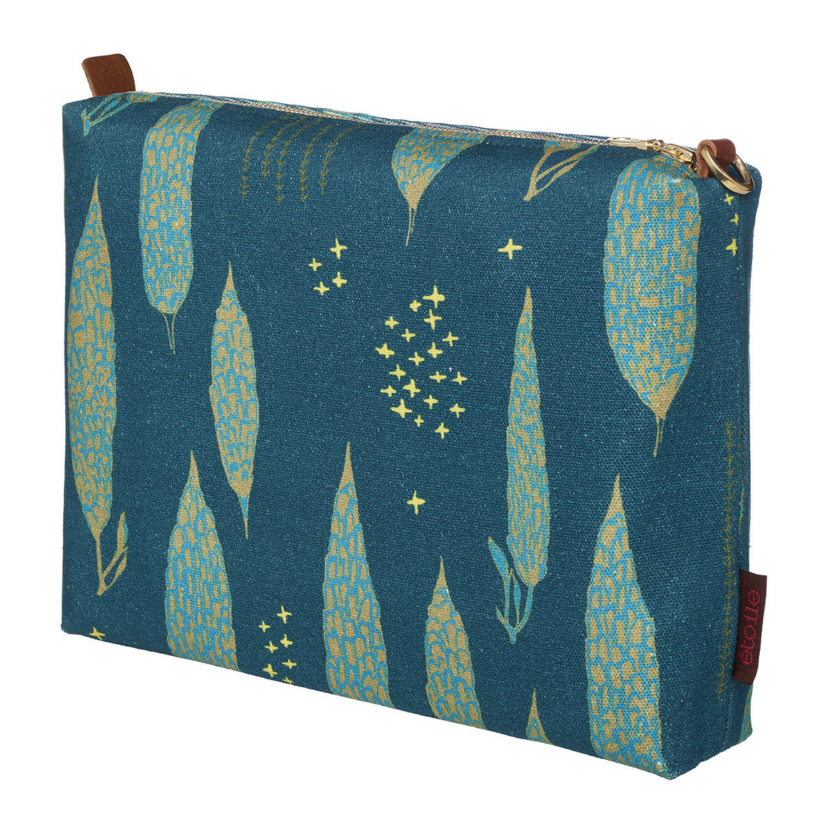 Graphic Tree Pattern Cotton Canvas Vanity Travel Bag in Dark Petrol Blue, Turquoise & Antique Moss Green Perfect for all your beauty and cosmetic needs while travelling or at home Ships from Canada (USA)
