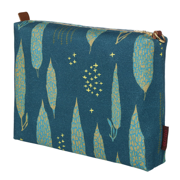 Graphic Tree Pattern Cotton Canvas Vanity Bag in Dark Petrol Blue, Turquoise & Antique Moss Green