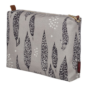 Graphic Tree Pattern Cotton Canvas Vanity Bag in Dove Grey & Black