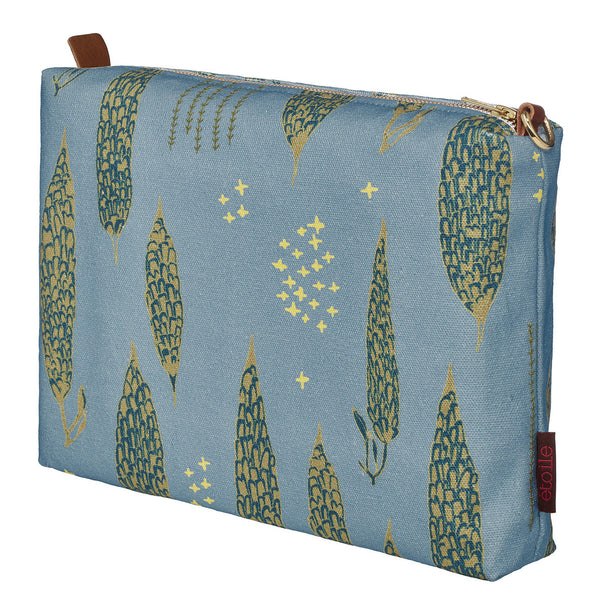 Graphic Tree Pattern Cotton Canvas Vanity Bag in Pale Winter Blue